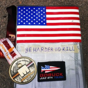 My Ironman Arizona Medal and GoRuck Bricks and completion Patch.